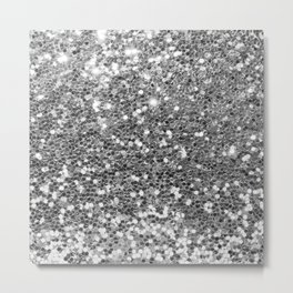 Chic faux silver abstract sequins glitter modern pattern Metal Print
