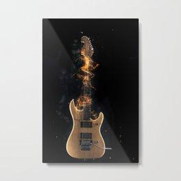 Flaming electric guitar Metal Print