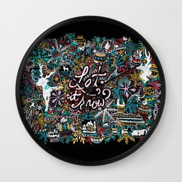 'Let It Snow' Christmas Doodle Drawing Wall Clock