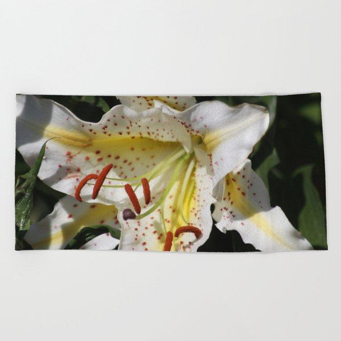 Flashy White Yellow Lily Flower Beach Towel