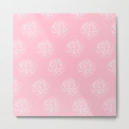 Pink Pastel Peony Pattern Metal Print