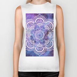 Galaxy Mandala Purple Lavender Blue Biker Tank