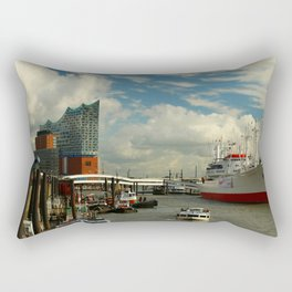 Elbharmonie With Harbor Scene Rectangular Pillow