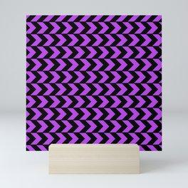 GRAPHIC GRID CHEVRON ABSTRACT DESIGN (BLACK AND PURPLE) SERIES 4 OF 6 Mini Art Print
