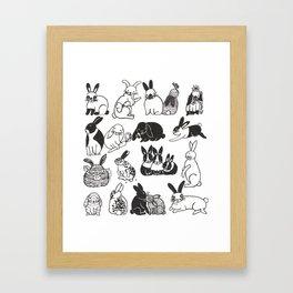 Black and White Bunnies Framed Art Print