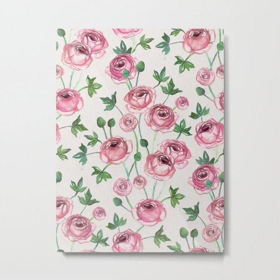 Painted Pink Ranunculus Pattern Metal Print