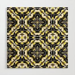 black yellow gray and white geometric Wood Wall Art