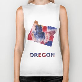 Oregon map outline Red blue brown watercolor painting Biker Tank