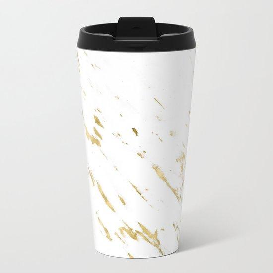 Gold White Marble - Trendy Yellow Gold Marble Metal Travel Mug