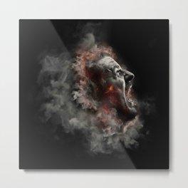 Burning face of man art Metal Print