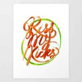 Kiss My Kicks - Orange & Green Art Print