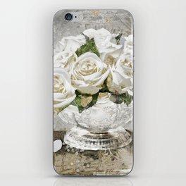 Shabby Cottage Roses Glitter iPhone Skin