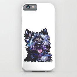 Fun Black Cairn Terrier bright colorful Pop Art Dog Portrait by LEA iPhone Case