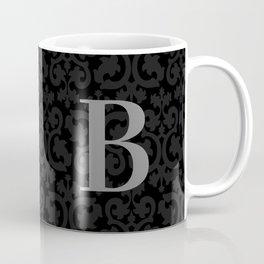 Modern Black Grey Damask Letter B Monogram Coffee Mug