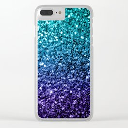 Beautiful Aqua blue Ombre glitter sparkles Clear iPhone Case
