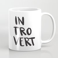 introvert Mugs featuring Introvert by Dead Language