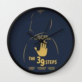 The 39 steps, Alfred Hitchcock, minimal movie poster, english film, b&w alternative affiche, cinema Wall Clock