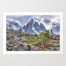 Snowy Mountains at Laguna Torre El Chalten Argentina Art Print