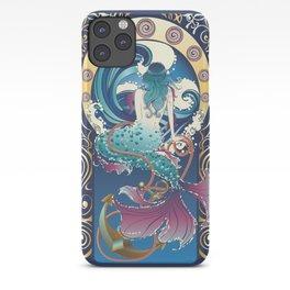 Blue Mermaid with anchor art nouveau design iPhone Case