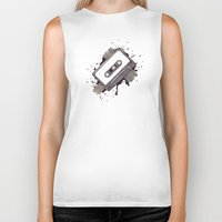cassette Biker Tanks featuring Cassette by One Curious Chip