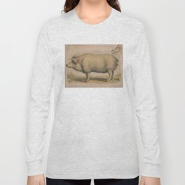 Vintage Illustration of a Domesticated Pig (1874) Long Sleeve T-shirt