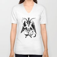 baphomet V-neck T-shirts featuring BAPHOMET by carolin walch