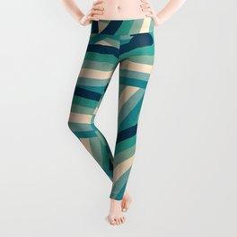 Teal Vintage Faded 70's Style Rainbow Stripes Leggings
