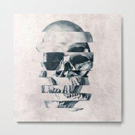 Glitch Skull Mono Metal Print