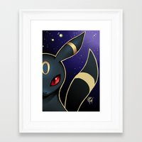 umbreon Framed Art Prints featuring UMBREON by goldhedgehog