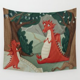 Concert of little Dragon Wall Tapestry
