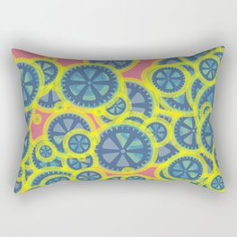 Random blue gearwheels Rectangular Pillow