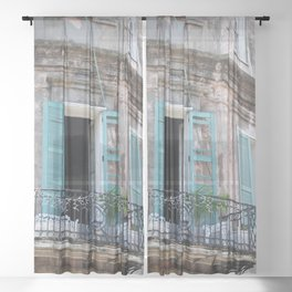 New Orleans French Quarter Balcony Sheer Curtain