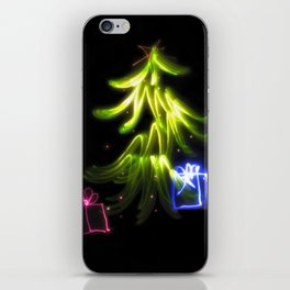 Christmas Lights a tree and presents light painting photograph iPhone Skin