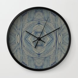 Beautiful pattern with leaves in blue, leaf litter Wall Clock