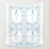 dancer Wall Tapestries featuring Blue dancer by Iris V.