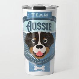 Team Aussie - Distressed Australian Shepherd Beer Label Design Travel Mug