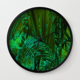 Palm Tree On a Green Nature Wall Clock