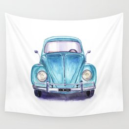 Vintage blue car Wall Tapestry