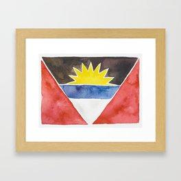 Antigua & Barbuda Watercolor Flag Framed Art Print