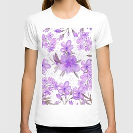 Watercolor lavender lilac brown modern floral T-shirt
