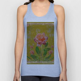 ANTIQUE AVOCADO COLOR  CORAL  PINK ROSES BOTANICAL ART Unisex Tank Top