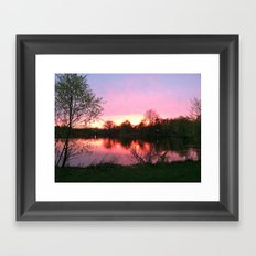 Sunset on St. Mary's Lake Notre Dame Framed Art Print