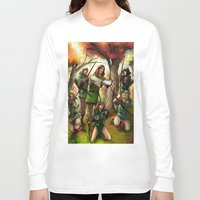 robin hood Long Sleeve T-shirts featuring Robin Hood and his Merry Women by Eco Comics