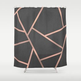 Dark Grey and Rose Gold Textured Fragments - Geometric Design Shower Curtain