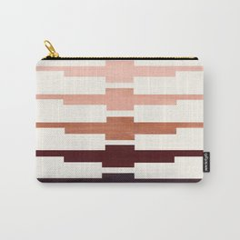 Raw Umber Minimalist Abstract Inca Pattern Midcentury Watercolor Geometric Painting Carry-All Pouch