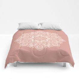 Flower Mandala in Peach and Powder Pink Comforters