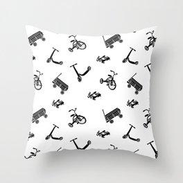 vintage wheels black and white pattern Throw Pillow