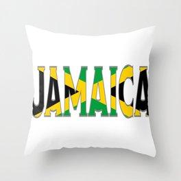 Jamaica Flag Font Throw Pillow