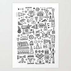 Triangle doodles Art Print