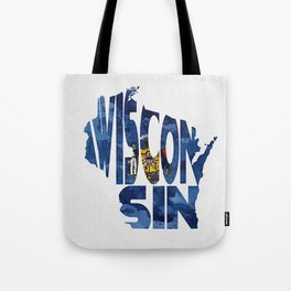 Wisconsin Typographic Flag Map Art Tote Bag